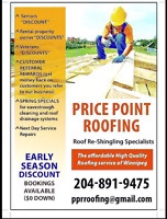 ROOFING OPEN FOR SEASON!! PRE-BOOK and save as much as $500!!