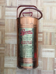 Large Vintage Pyrene Copper Fire Extinguisher Pump Tank