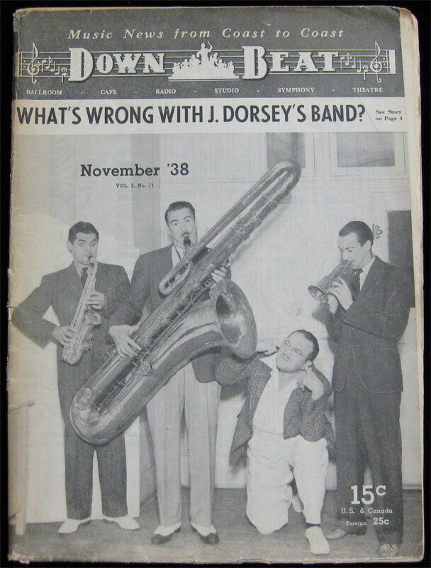 Down Beat Jazz Magazine _RARE Nov 1938 - Jimmy Dorsey Jack Dempsey Bing Crosby
