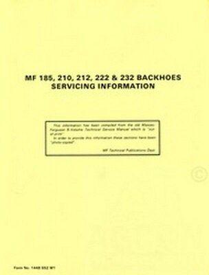 Massey Ferguson Mf 185 210 212 222 232 Backhoe Service Manual Hoe