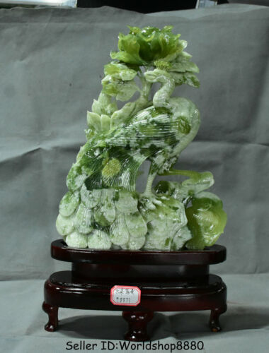 """16.4"""" Chinese Natural Xiu Green Jade Carved peacock peafowl Birds Flower Statue"""