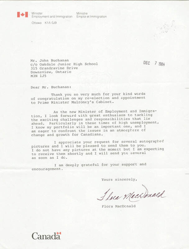 FLORA MacDONALD - TYPED LETTER SIGNED CIRCA 1984