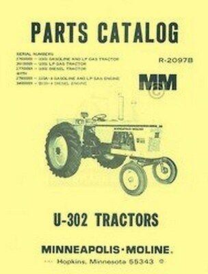 Minneapolis Moline U-302 U302 Parts Manual Catalog 2097