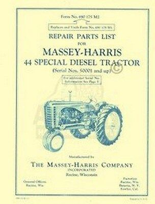 Massey Harris 44 Diesel Repair Parts Manual 5001 Up