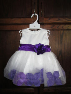 Girls white/purple fancy dress in size 6/9 months