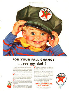 1953 large full page color ad for Texaco Service