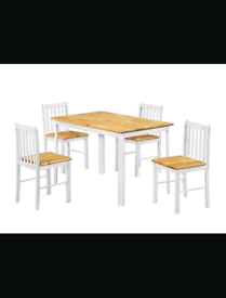 Brand New Natural Oak Dining Table with 4 Chairs
