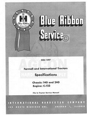 International Farmall 100 130 140 200 230 240 Specifications Service Manual Ih