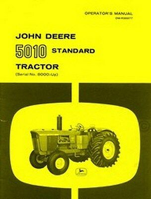 John Deere Model 5010 Tractor Operators Manual Serial 8000-up Jd