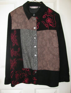 Ladies Black Multi-Color Blouse Shirt Top Feels-Like Suede 8P