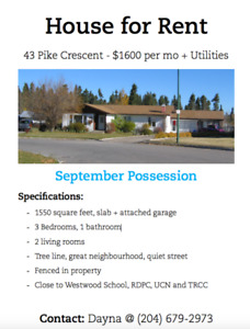 House for Rent in Thompson, MB