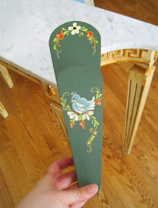 Wood BIRD & FLOWERS Scissor Holder / Wall Rack - Hand Painted