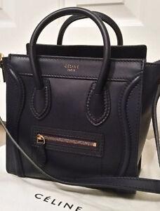 Celine Black Nano Smooth Leather Luggage Messenger Bag