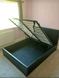 Black faux leather liftup double bedframe
