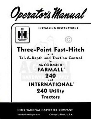 International 240 3 Point Fast Hitch Operators Manual