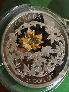 2018 RCM Silver + Gold Falling Maple Leaf $30 Coin