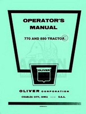 Oliver 770 880 Row Crop Standard Operator Manual