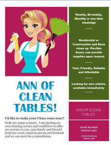 Ann of Clean Tables. Cleaning service