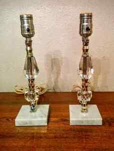 1940's Hollywood Glam Crystal Marble Bedside Table Boudoir Lamps
