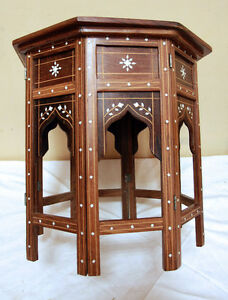 2 Brilliant Anglo-Indian BONE  Inlaid Travel Tables  SEE VIDEO