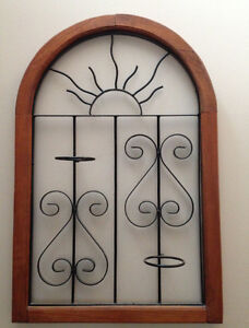 Iron and wood plant/candle holder wall hanging