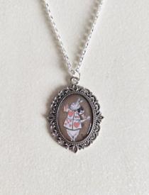 Alice in Wonderland White Rabbit Vintage Illustration Silver Necklace