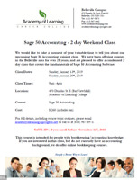 Sage 50 Accounting 2 Day Class (Weekend)