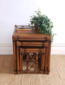 Vintage Bamboo Rattan Nest Of Tables
