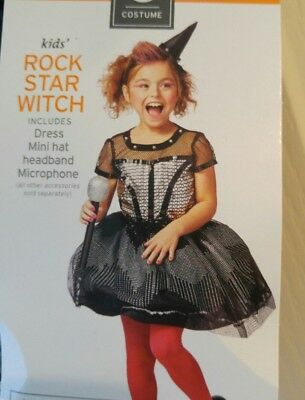 Girls Rockstar Costume (NEW Girl Dress Up Costume Size 10-12 Size Large Rock Star Witch)