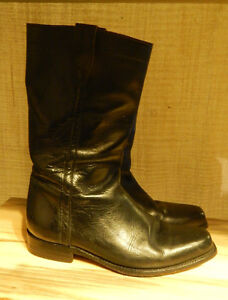 Black Leather Cowboy Style Boots, Men's