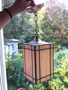 Hanging Light  -Vintage Slag Glass