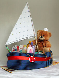 Nautical Themed Diaper Cake Boat