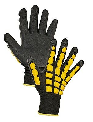 Work Gloves Men Latex Coated Palm Nylon Knit Dipped Rubber Grip 1 Pair, size