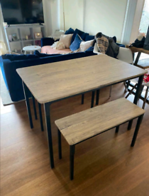 Argos Oak Effect Dining Table & 2 Benches / Chairs