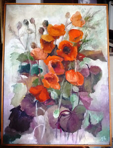 """Bright Floral Oil Painting by J. K. """"Study Of Flowers"""" 1950's"""