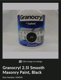 Paint Granocryl 2.5l Smooth Masonry Paint, Black