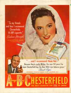 1947 full page color ad Chesterfield Cigrettes Barbara Stanwyck