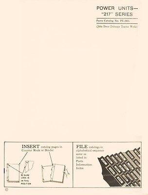 John Deere Model 217 Series Power Unit Parts Manual Catalog Jd 568