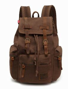 Vintage Men Women Canvas Leather Backpack Rucksack Satchel Hiking School Bag