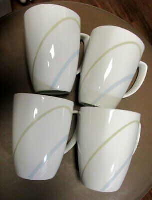 Corelle Simple Lines Coffee Mugs Set of 4 White with Blue and Green Lines EUC