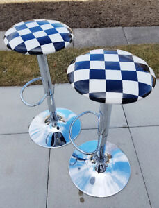 Set of Bar Stools, retro style checkered padded seats