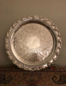 Silver plated tray / round 32cm