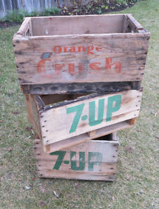 VINTAGE 7-UP and ORANGE CRUSH WOODEN DRINK CRATES