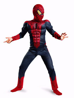 SPIDERMAN Costume with WEB SHOOTERS Muscle arms + Child Size L (10-12)BRAND NEW](Muscle Arms Costume)