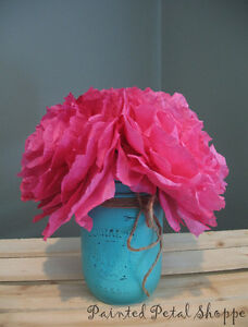 Fuchsia Coffee Filter Peony Arrangement/Rustic Wedding Decor Belleville Belleville Area image 5