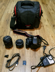 Canon T5i / 700D body + 18-55mm lens + 50mm lens  + padded bag