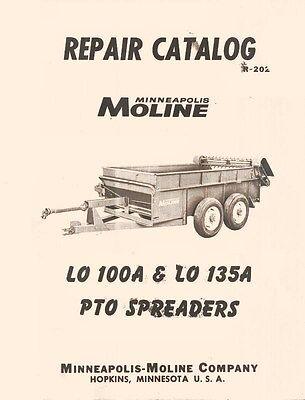 Minneapolis Moline Lo 100a 135a Spreader Parts Manual