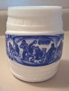 White Milk Glass Barrel Beer Mug with Blue Transfer Decoration