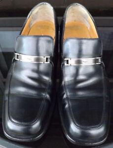 SALVATORE FERRAGAMO Mens Black Leather Shoes Size 11.5 D