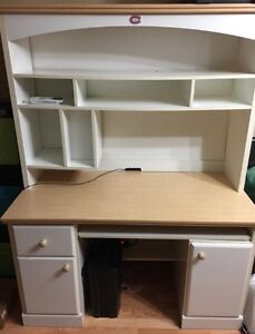 White desk with removable hutch - good condition